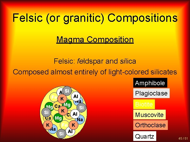 Felsic (or granitic) Compositions Magma Composition Felsic: feldspar and silica Composed almost entirely of