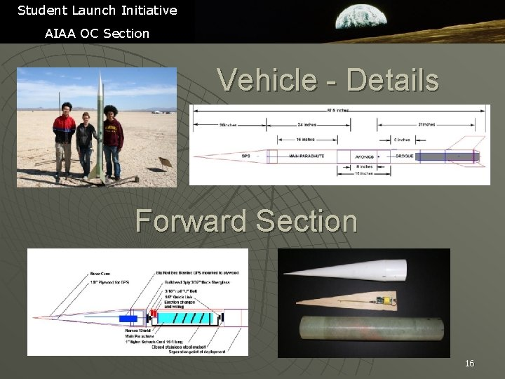 Student Launch Initiative AIAA OC Section Vehicle - Details Forward Section 16