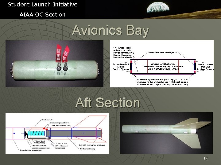 Student Launch Initiative AIAA OC Section Avionics Bay Aft Section 17