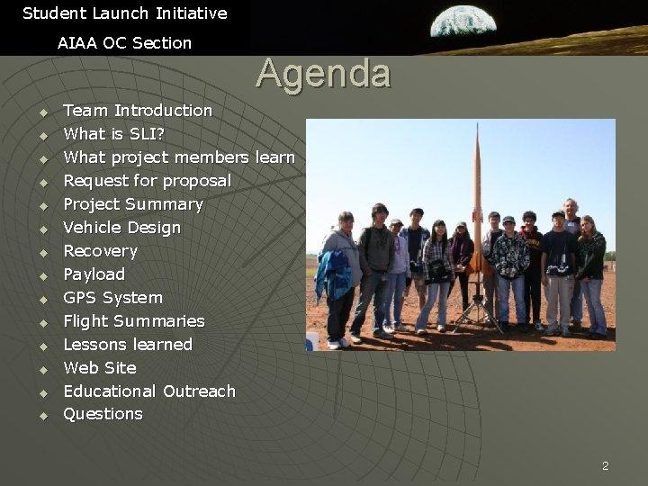 Student Launch Initiative AIAA OC Section u u u u Agenda Team Introduction What