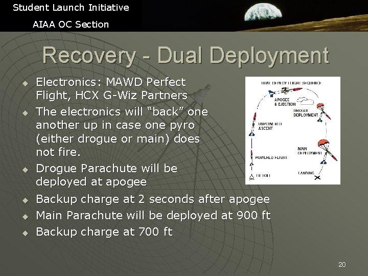 Student Launch Initiative AIAA OC Section Recovery - Dual Deployment u u u Electronics: