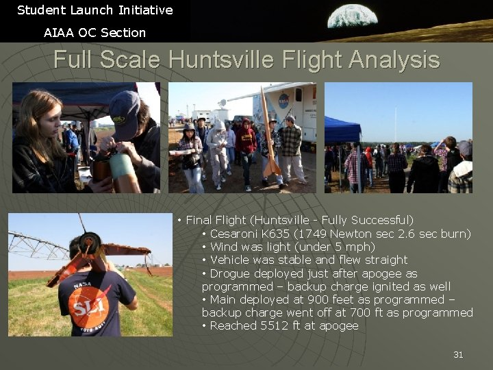 Student Launch Initiative AIAA OC Section Full Scale Huntsville Flight Analysis • Final Flight