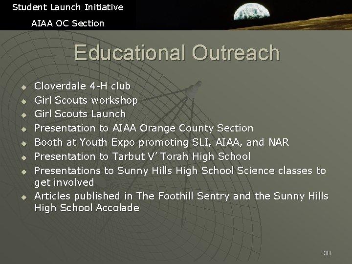 Student Launch Initiative AIAA OC Section Educational Outreach u u u u Cloverdale 4