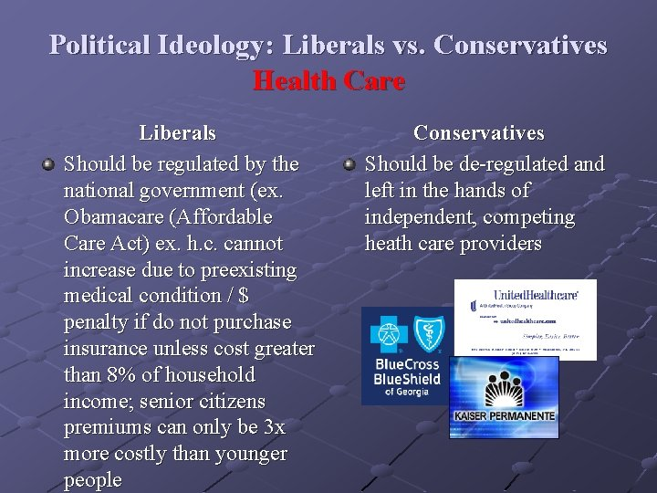 Political Ideology: Liberals vs. Conservatives Health Care Liberals Should be regulated by the national