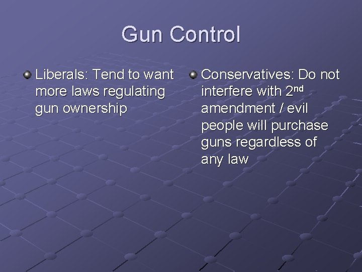 Gun Control Liberals: Tend to want more laws regulating gun ownership Conservatives: Do not