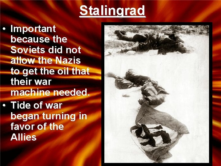 Stalingrad • Important because the Soviets did not allow the Nazis to get the