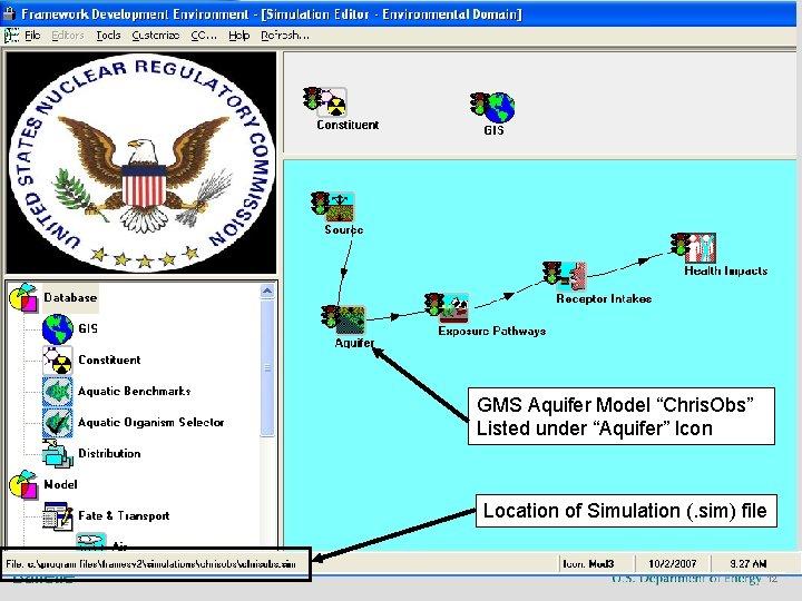 """GMS Aquifer Model """"Chris. Obs"""" Listed under """"Aquifer"""" Icon Location of Simulation (. sim)"""
