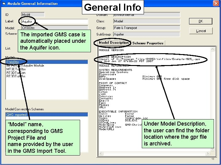 """General Info The imported GMS case is automatically placed under the Aquifer icon. """"Model"""""""