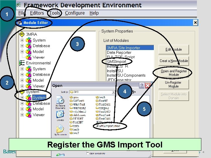 1 3 2 4 5 Register the GMS Import Tool 4