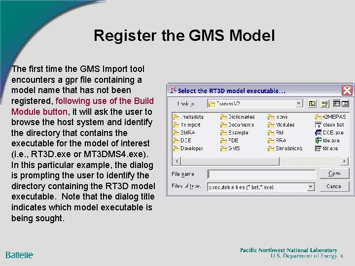 Register the GMS Model The first time the GMS Import tool encounters a gpr