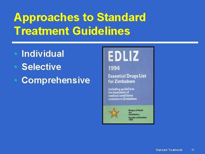 Approaches to Standard Treatment Guidelines • • • Individual Selective Comprehensive Standard Treatments 11