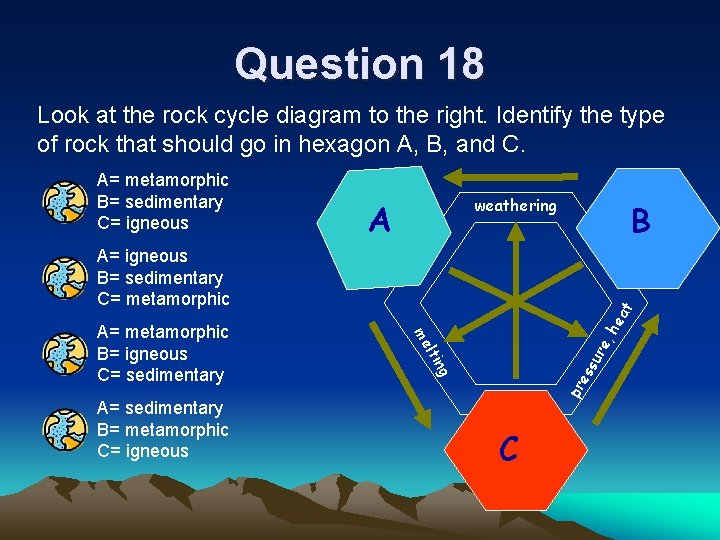 Question 18 Look at the rock cycle diagram to the right. Identify the type