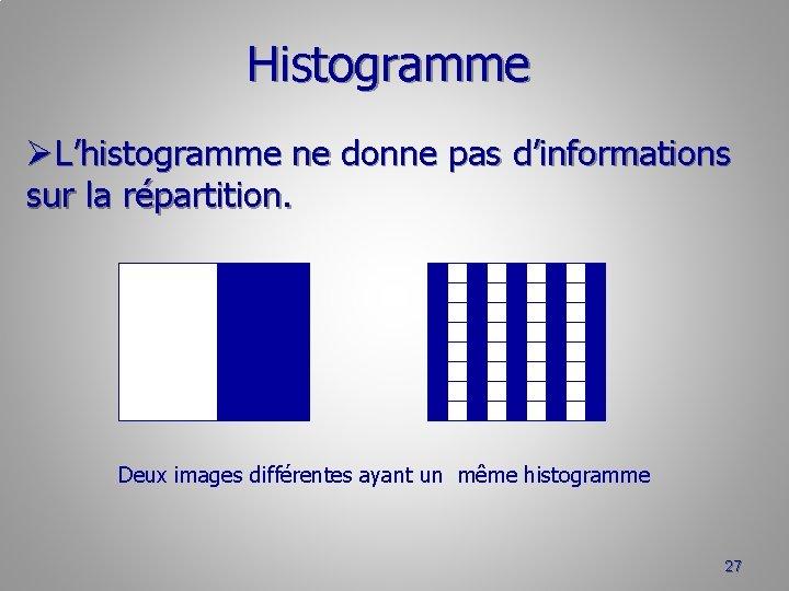 Histogramme ØL'histogramme ne donne pas d'informations sur la répartition. Deux images différentes ayant un
