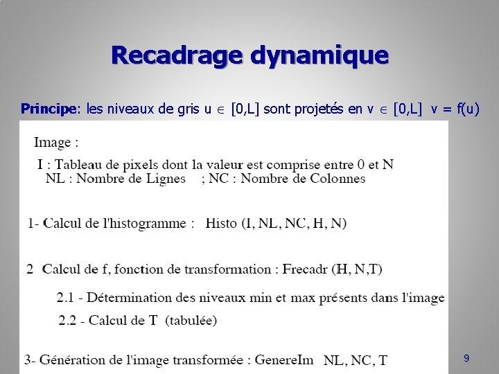 Recadrage dynamique Principe: les niveaux de gris u [0, L] sont projetés en v