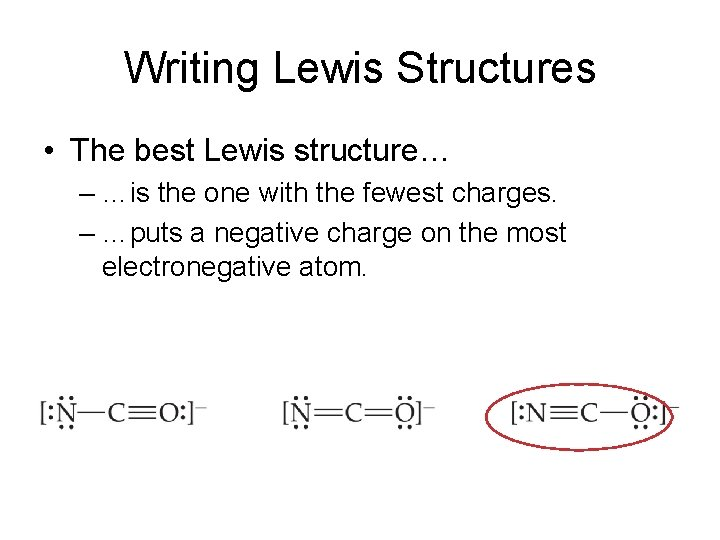 Writing Lewis Structures • The best Lewis structure… – …is the one with the