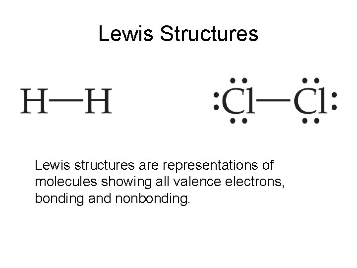 Lewis Structures Lewis structures are representations of molecules showing all valence electrons, bonding and