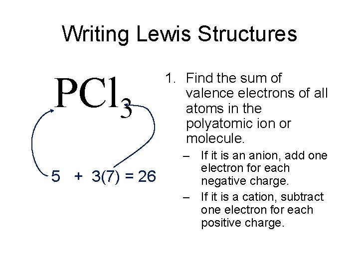 Writing Lewis Structures PCl 3 5 + 3(7) = 26 1. Find the sum