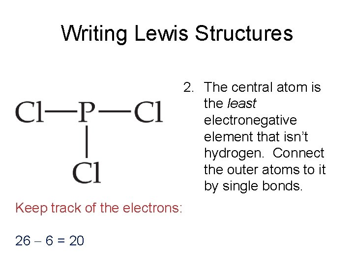 Writing Lewis Structures 2. The central atom is the least electronegative element that isn't