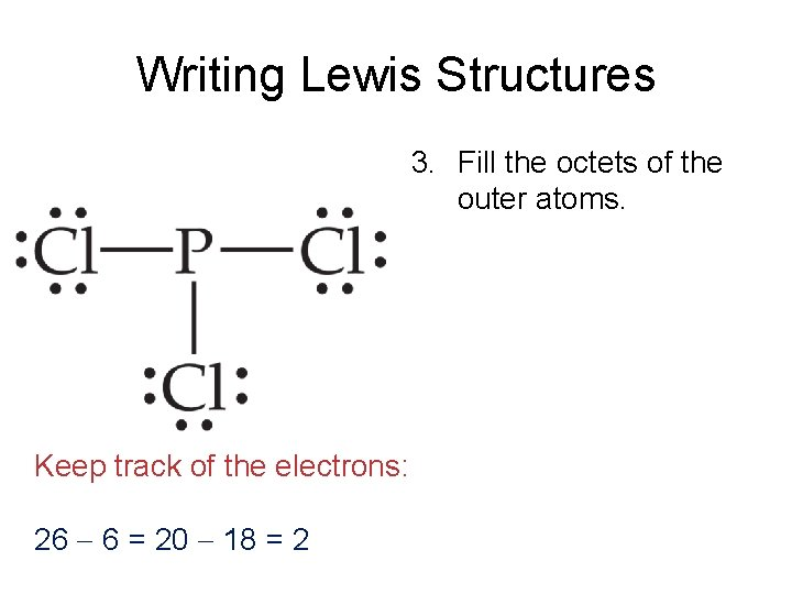 Writing Lewis Structures 3. Fill the octets of the outer atoms. Keep track of