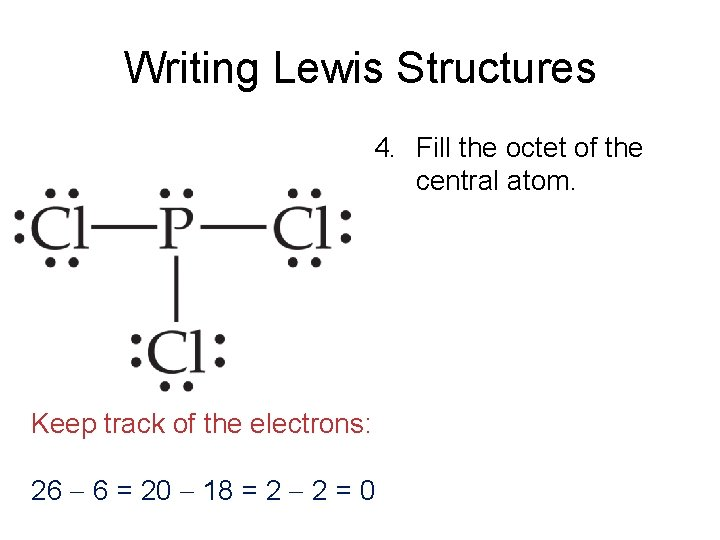 Writing Lewis Structures 4. Fill the octet of the central atom. Keep track of