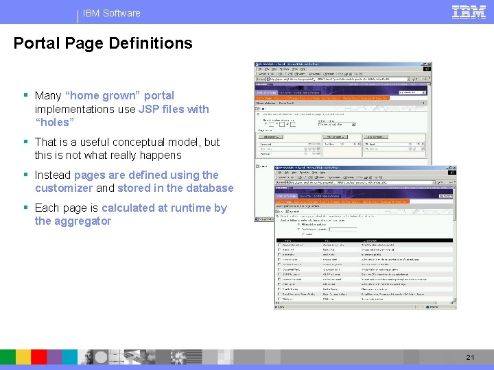 """IBM Software Portal Page Definitions § Many """"home grown"""" portal implementations use JSP files"""