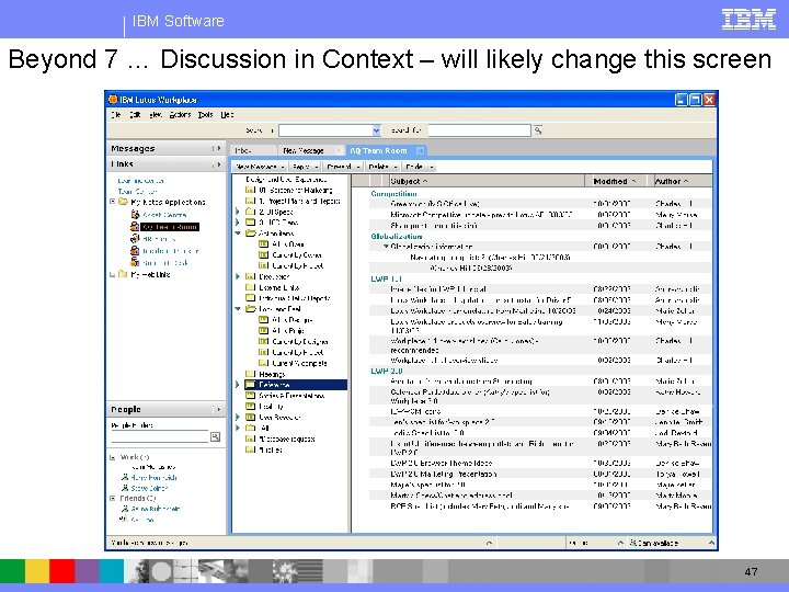 IBM Software Beyond 7 … Discussion in Context – will likely change this screen