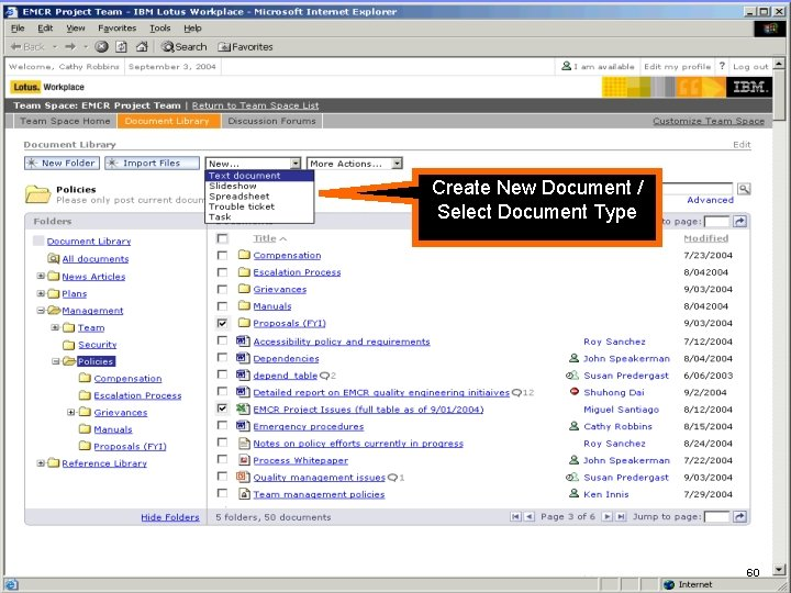 """IBM Software Create New Document / Select Document Type Folder view showing """"New…"""" menu,"""