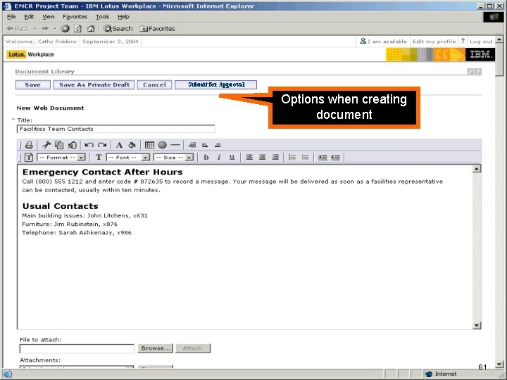 IBM Software Submit for Approval Options when creating document New Web Document form (using