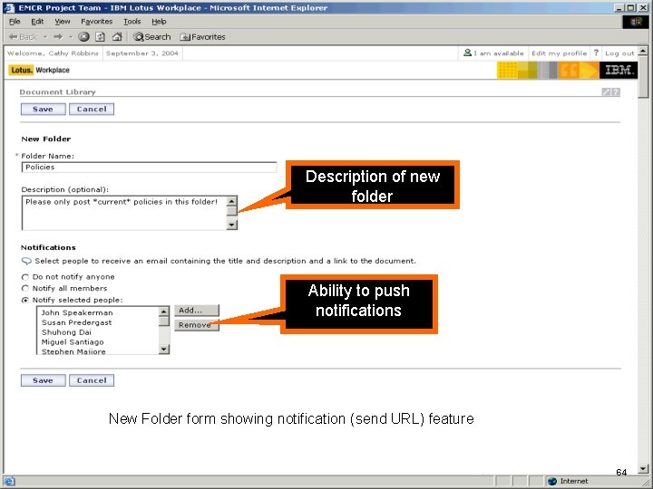 IBM Software Description of new folder Ability to push notifications New Folder form showing