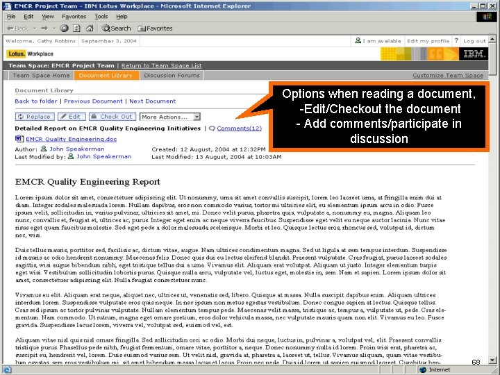 IBM Software Options when reading a document, -Edit/Checkout the document - Add comments/participate in
