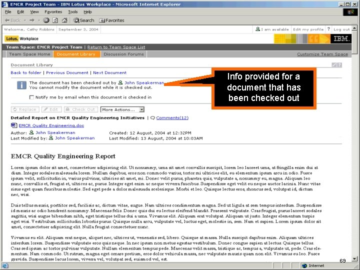 IBM Software Info provided for a document that has been checked out 69