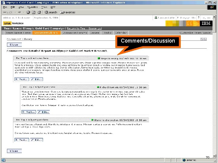 IBM Software Comments/Discussion 70