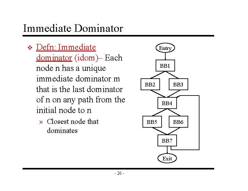 Immediate Dominator v Defn: Immediate dominator (idom)– Each node n has a unique immediate