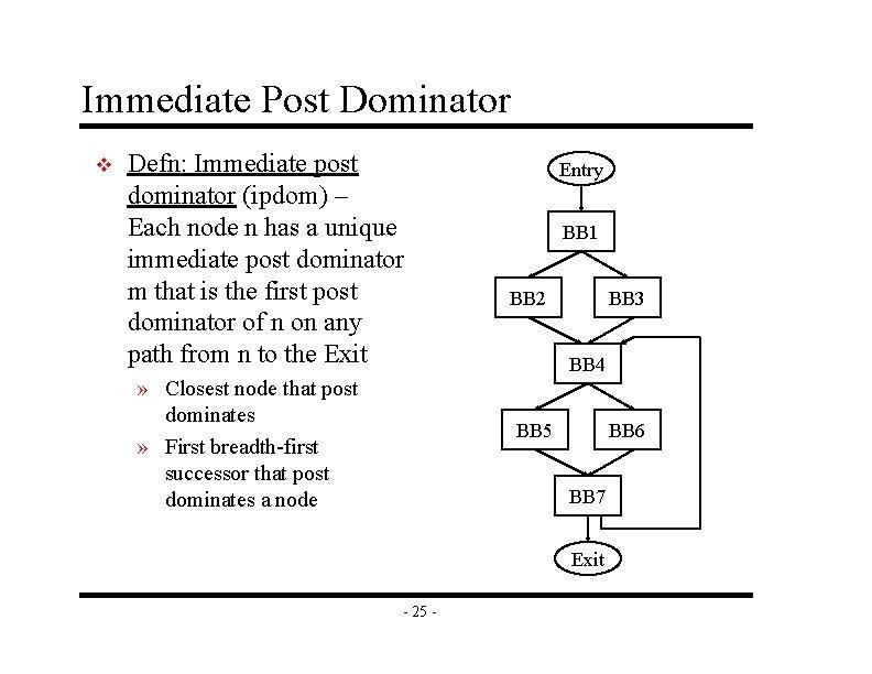 Immediate Post Dominator v Defn: Immediate post dominator (ipdom) – Each node n has