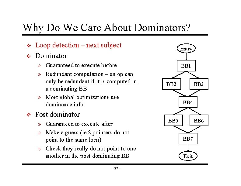 Why Do We Care About Dominators? v v Loop detection – next subject Dominator
