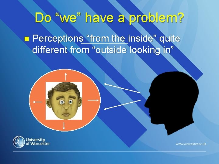 """Do """"we"""" have a problem? n Perceptions """"from the inside"""" quite different from """"outside"""
