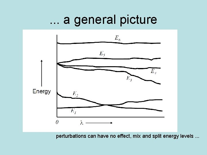 . . . a general picture perturbations can have no effect, mix and split