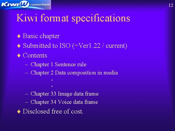 12 Kiwi format specifications ¨ Basic chapter ¨ Submitted to ISO (=Ver 1. 22