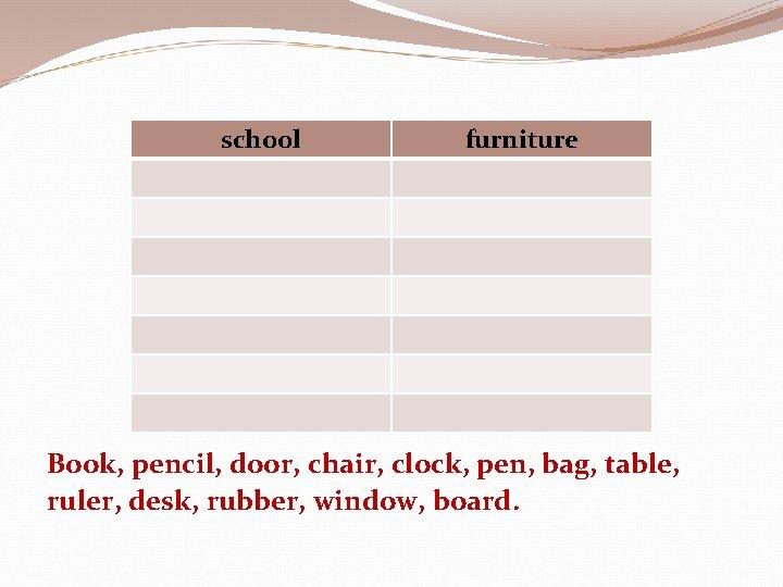 school furniture Book, pencil, door, chair, clock, pen, bag, table, ruler, desk, rubber, window,