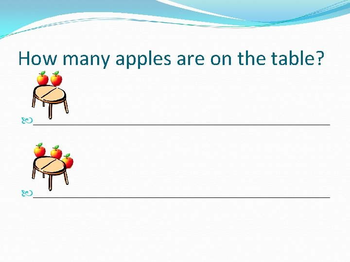 How many apples are on the table? _______________________________________________