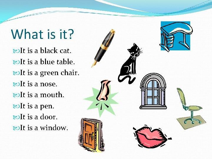 What is it? It is a black cat. It is a blue table. It