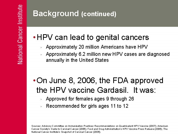 Cancer de col uterin - Hpv vaccine national cancer institute
