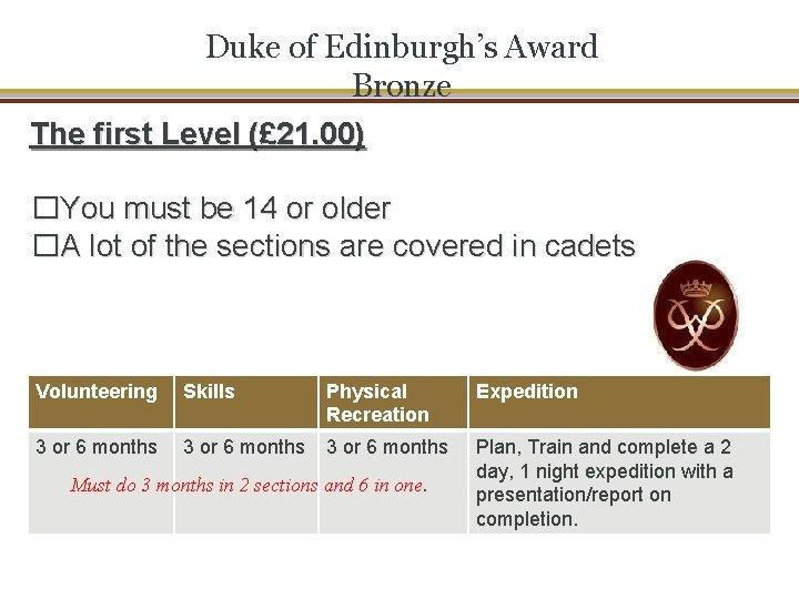 Duke of Edinburgh's Award Bronze The first Level (£ 21. 00) �You must be