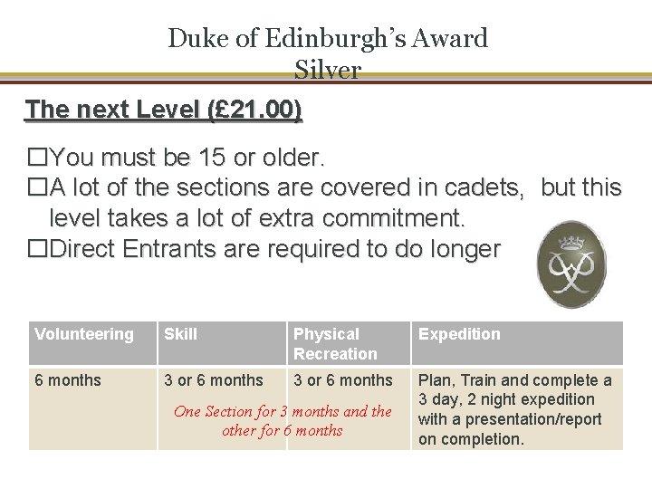 Duke of Edinburgh's Award Silver The next Level (£ 21. 00) �You must be