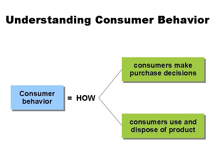 Understanding Consumer Behavior consumers make purchase decisions Consumer behavior = HOW consumers use and