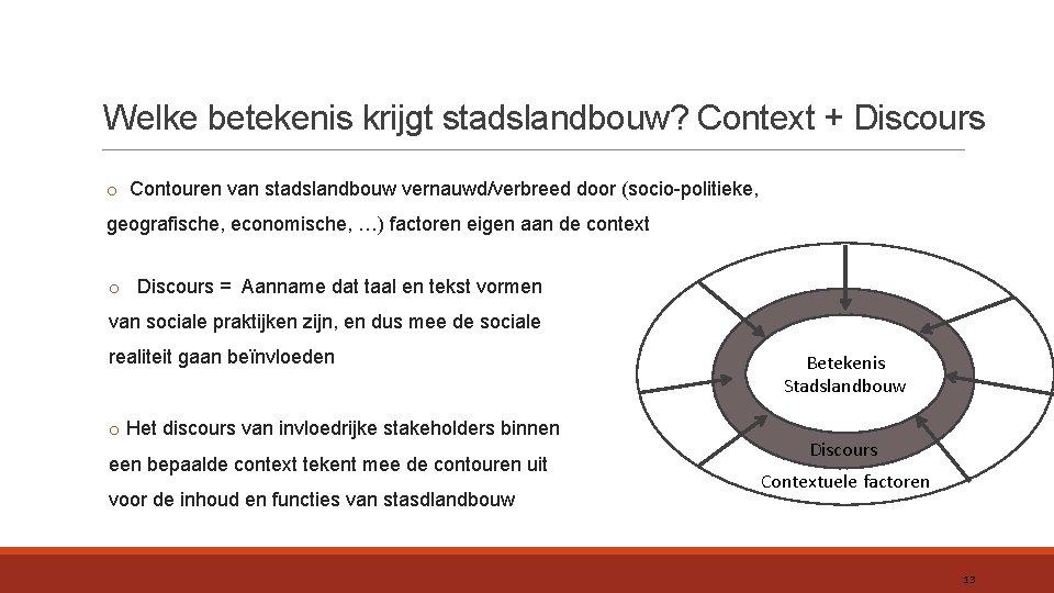 Welke betekenis krijgt stadslandbouw? Context + Discours o Contouren van stadslandbouw vernauwd/verbreed door (socio-politieke,