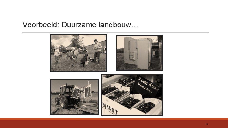 Voorbeeld: Duurzame landbouw… 15
