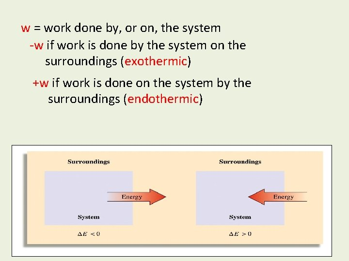 w = work done by, or on, the system -w if work is done