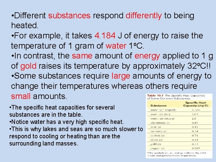 • Different substances respond differently to being heated. • For example, it takes