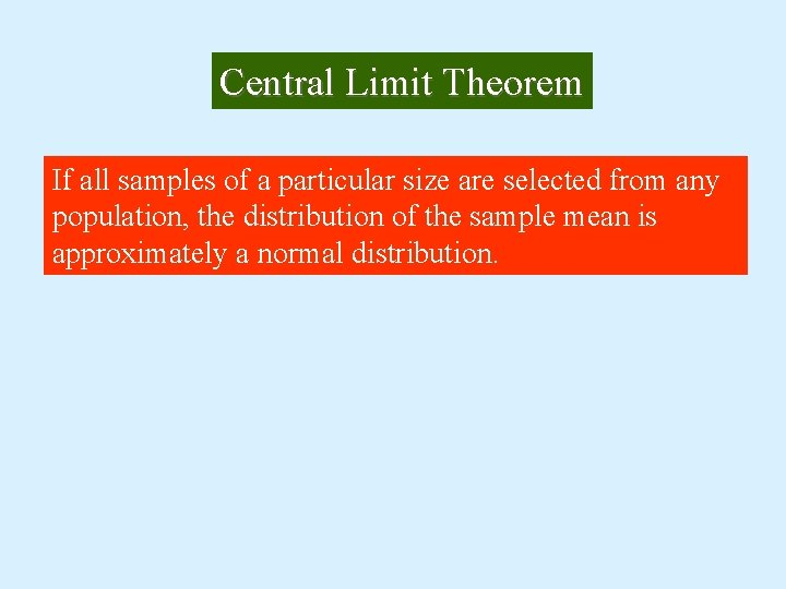 Central Limit Theorem If all samples of a particular size are selected from any